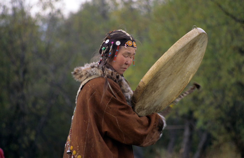 Woman with a drum, Kamchatka